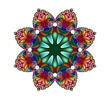 Satin Rainbow Fractal Flower I Photographic Print