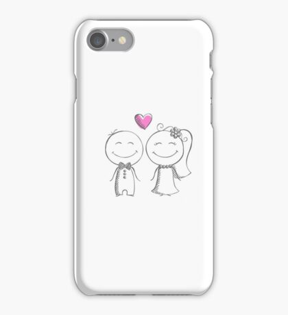 bride and groom, pencil sketch iPhone Case/Skin