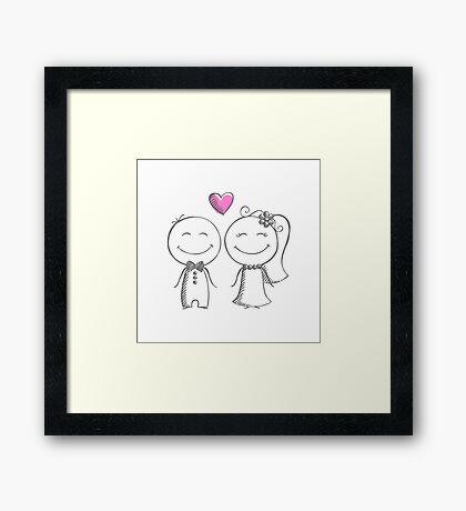 bride and groom, pencil sketch Framed Print