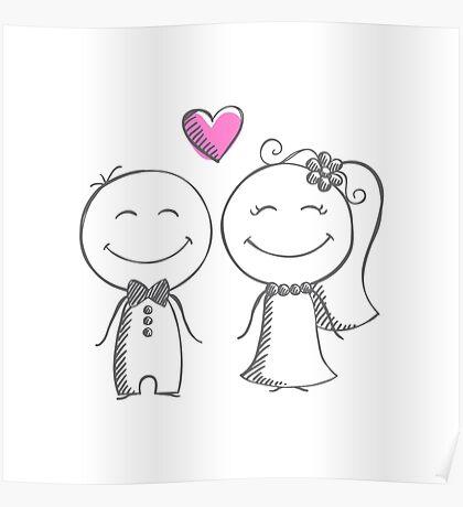bride and groom, pencil sketch Poster