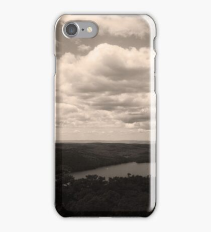 Caroga Lake - View from Kane Mountain - Black and White iPhone Case/Skin