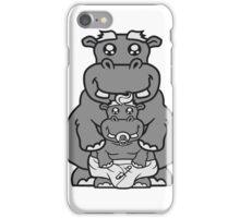 papa mama familie nachwuchs eltern baby schnuller kleines lustiges süßes niedliches dickes comic cartoon nilpferd fett hippo  iPhone Case/Skin