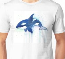 Killer Whale Orca Watercolor Unisex T-Shirt