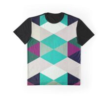 Abstraction #116 Green White Purple Triangles Graphic T-Shirt