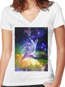 Space Penguin Women's Fitted V-Neck T-Shirt