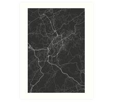Braga, Portugal Map. (White on black) Art Print