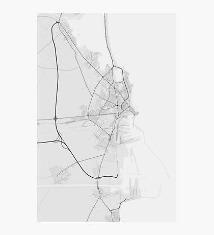 Constanta, Romania Map. (Black on white) Photographic Print