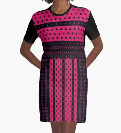 Hot Pink Triangles And Bows Graphic T-Shirt Dress