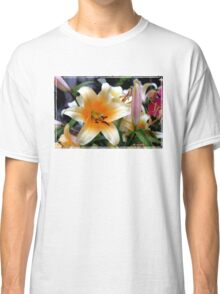 Tequila Sunrise Lily with Raindrops Classic T-Shirt