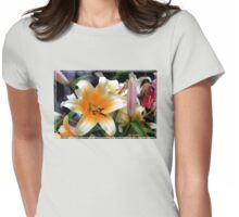 Tequila Sunrise Lily with Raindrops Womens Fitted T-Shirt