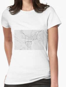 Bratislava, Slovakia Map. (Black on white) Womens Fitted T-Shirt