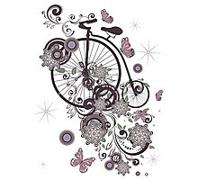 Old Bicycle and Floral Ornament Photographic Print
