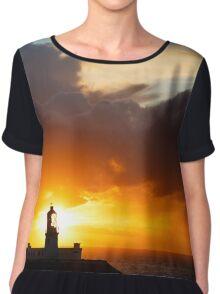 Sunset at Strumble Head Lighthouse Chiffon Top