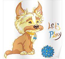 Сute redhead shaggy puppy Poster