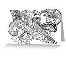 Vogel doodle Schwarz/Weiß Greeting Card