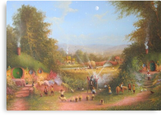 Gandalf's Return Fireworks In The Shire oil on canvas   by Joe Gilronan