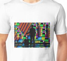 Businessman at airport infront of Multimedia screen Unisex T-Shirt