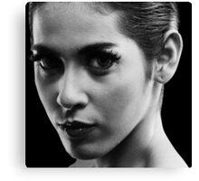 monochrome portrait of woman Canvas Print