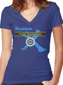 Huge Succeeded - Xenoblade Chronicles X Blue Women's Fitted V-Neck T-Shirt