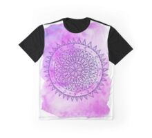 Purple Watercolour Wash Mandala Graphic T-Shirt