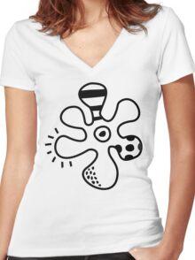 Amoeba Flowers Women's Fitted V-Neck T-Shirt