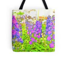 Delphiniums Pop Art Style Tote Bag