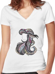 Ariel Stain Glass Pastel Women's Fitted V-Neck T-Shirt