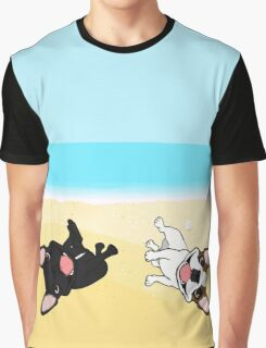 French Bulldogs Rolling In Sand Graphic T-Shirt