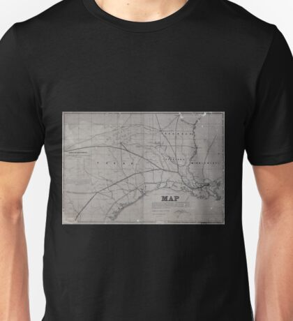 0315 Railroad Maps Map exhibiting the fixed location of the main trunk of the New-Orleans Opelousas Great Western Railroad of Louisiana together with its proposed branches Unisex T-Shirt