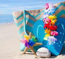 Beach bag with flip flops by the ocean by ellensmile