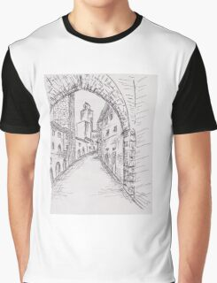Italian Historic Town Sketch 2 Graphic T-Shirt