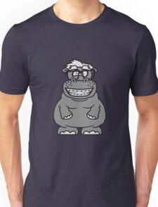 nerd geek schlau hornbrille freak dumm zahnspange kleines lustiges süßes niedliches dickes comic cartoon nilpferd fett hippo  Unisex T-Shirt