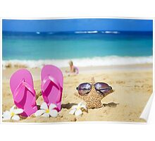 Flip flops and starfish with sunglasses on sandy beach Poster