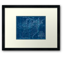0043 Railroad Maps Map of the various channels for conveying the trade of the north west to the Atlantic sea-board exhibiting the tributaries drainage of the trade into each Inverted Framed Print
