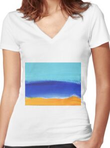 Beach and sunny landscape by the sea Women's Fitted V-Neck T-Shirt