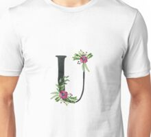 Monogram U with Floral Wreath Unisex T-Shirt