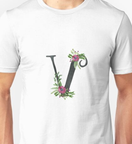 Monogram V with Floral Wreath Unisex T-Shirt
