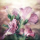 Hibiscus Sky - Pastel by Carol  Cavalaris