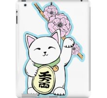 Lucky cat, maneki neko, cherry blossoms iPad Case/Skin