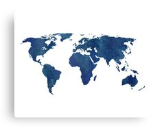 Midnight Blue Watercolor World Map Canvas Print