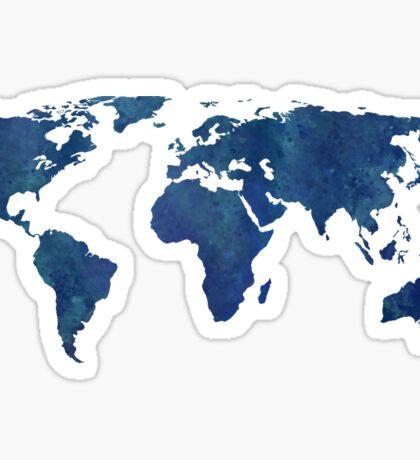 Midnight Blue Watercolor World Map Sticker