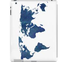 Midnight Blue Watercolor World Map iPad Case/Skin
