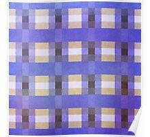 Abstraction #117 Blue Purple Tan White Blocks Poster