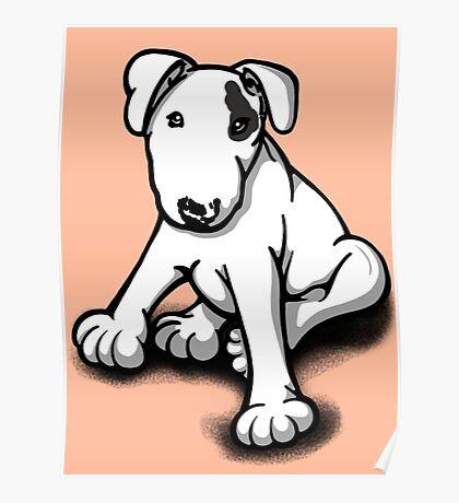 Bull Terrier Puppy Black Eye Patch  Poster