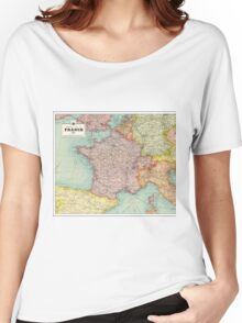 1924 vintage France map - wedding - birthday - Christmas - anniversary gift Women's Relaxed Fit T-Shirt