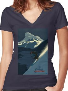Retro ski print Revelstoke Women's Fitted V-Neck T-Shirt