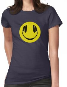 Smiley Headphone Face Womens Fitted T-Shirt
