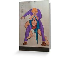 BJJ women tango choke vintage Greeting Card