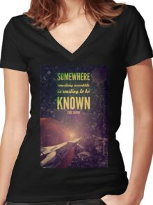 Space Exploration (Carl Sagan Quote) Women's Fitted V-Neck T-Shirt