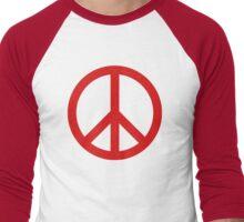 Peace - Red Men's Baseball ¾ T-Shirt